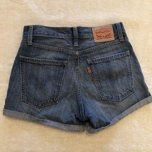 Levi's High Waisted Cuffed Denim Shorts